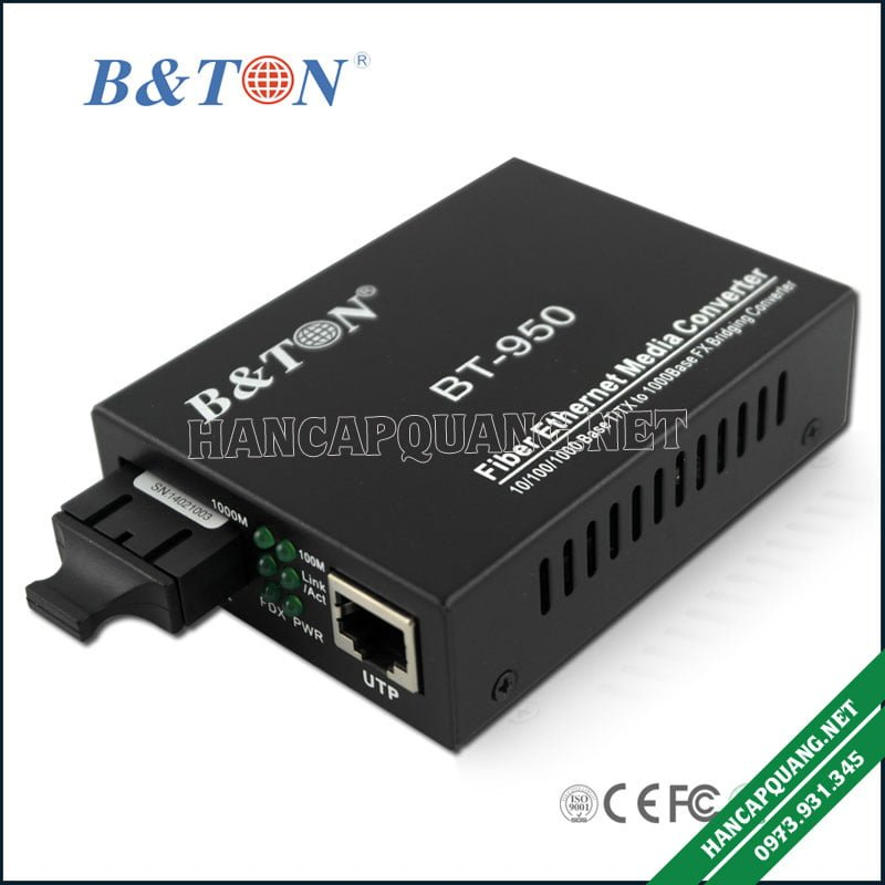 Bộ chuyển đổi quang BTON 950SM 10/100 2 sợi