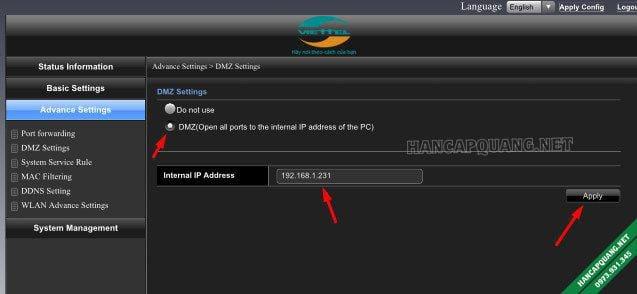 Giao diện mở port bằng DMZ