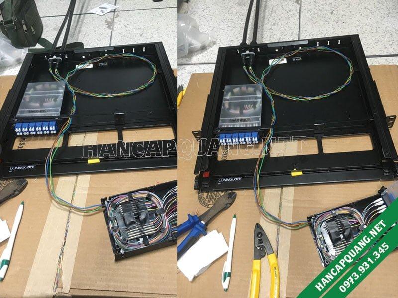 Hàn quang vào hộp ODF AMP chuẩn LC tại Phú Quốc