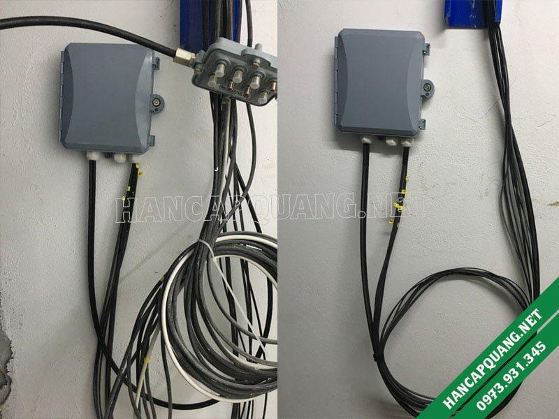 Hàn vào hộp ODF 8FO treo tường ở tủ kỹ thuật mỗi tầng.