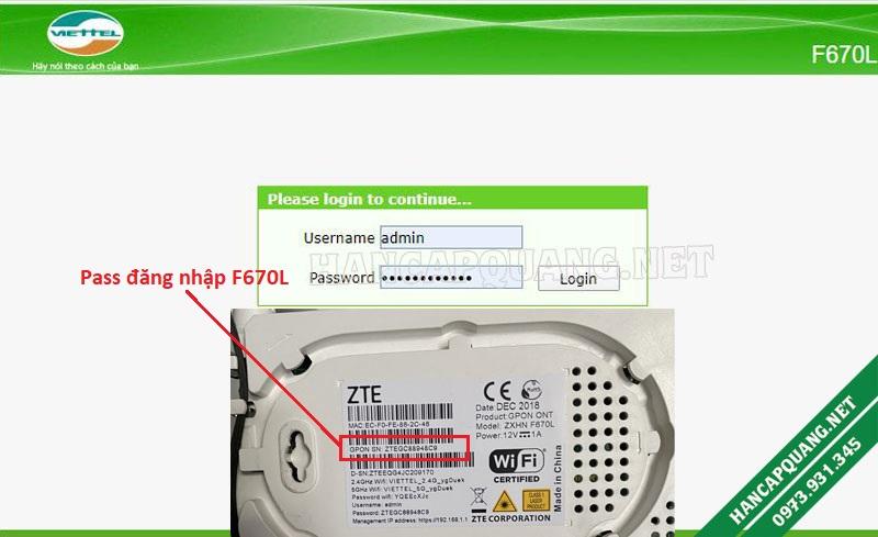 User và Pass đăng nhập vào Modem F670L Viettel