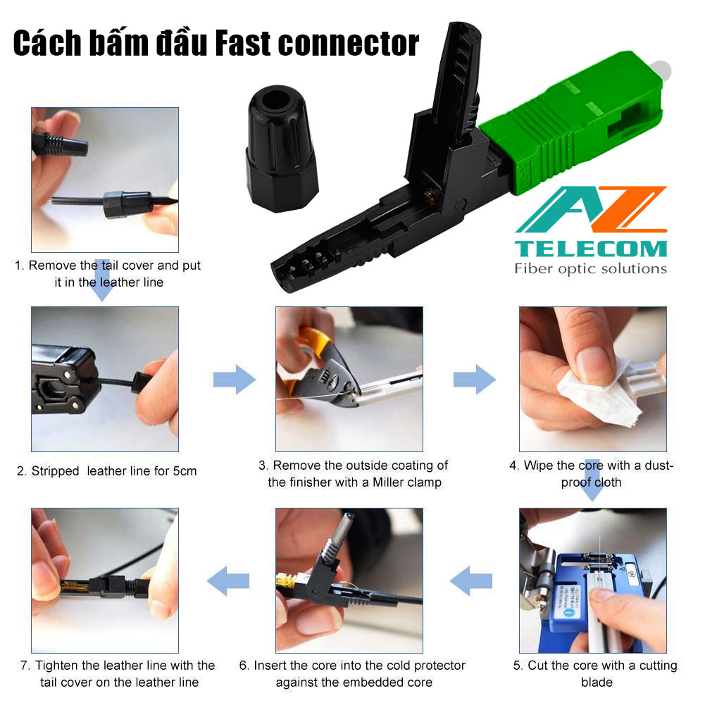 Hướng dẫn cách bấm đầu Fast Connector SC-APC, SC-UPC