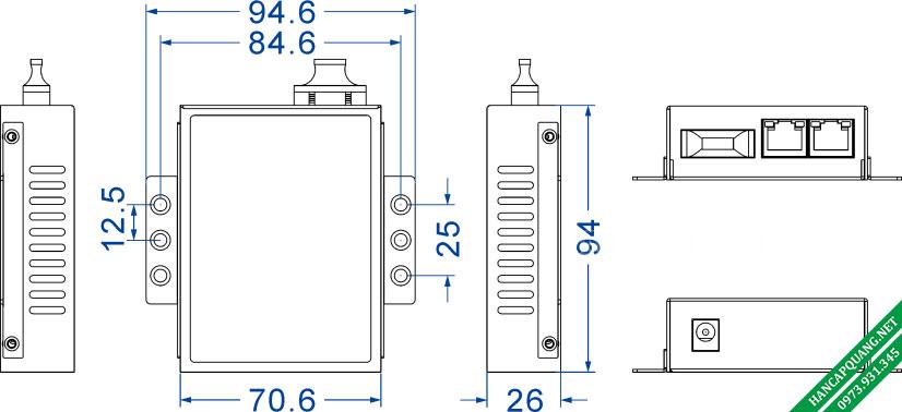 Sơ đồ cấu tạo Converter 3Onedata Model 1200-S-SC-20Km