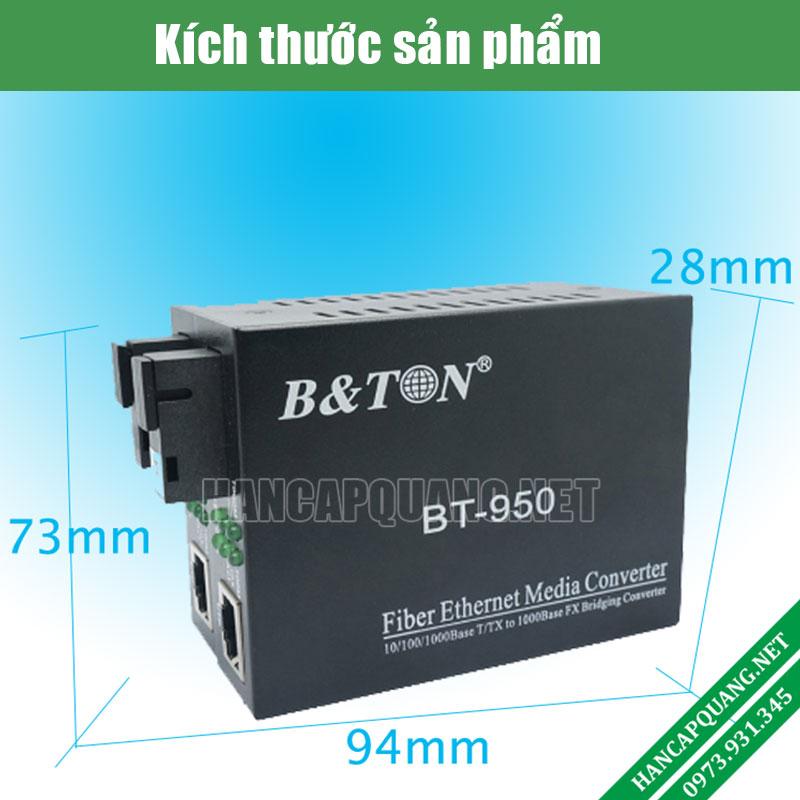 Kích thước sản phẩm Media converter quang BTON BT-950-SM 25A