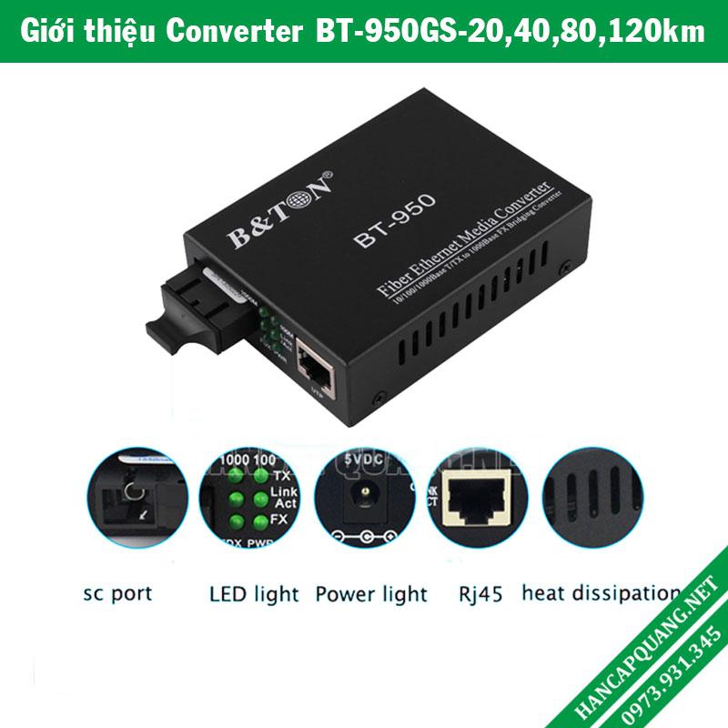 Bộ chuyển đổi quang điện BT-950GS-60 10/100/1000M