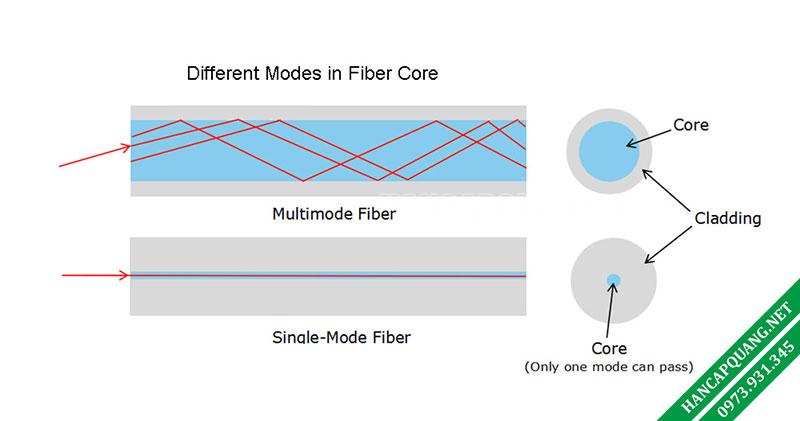 Hình 1: Cáp quang đa mode và cáp quang đơn mode
